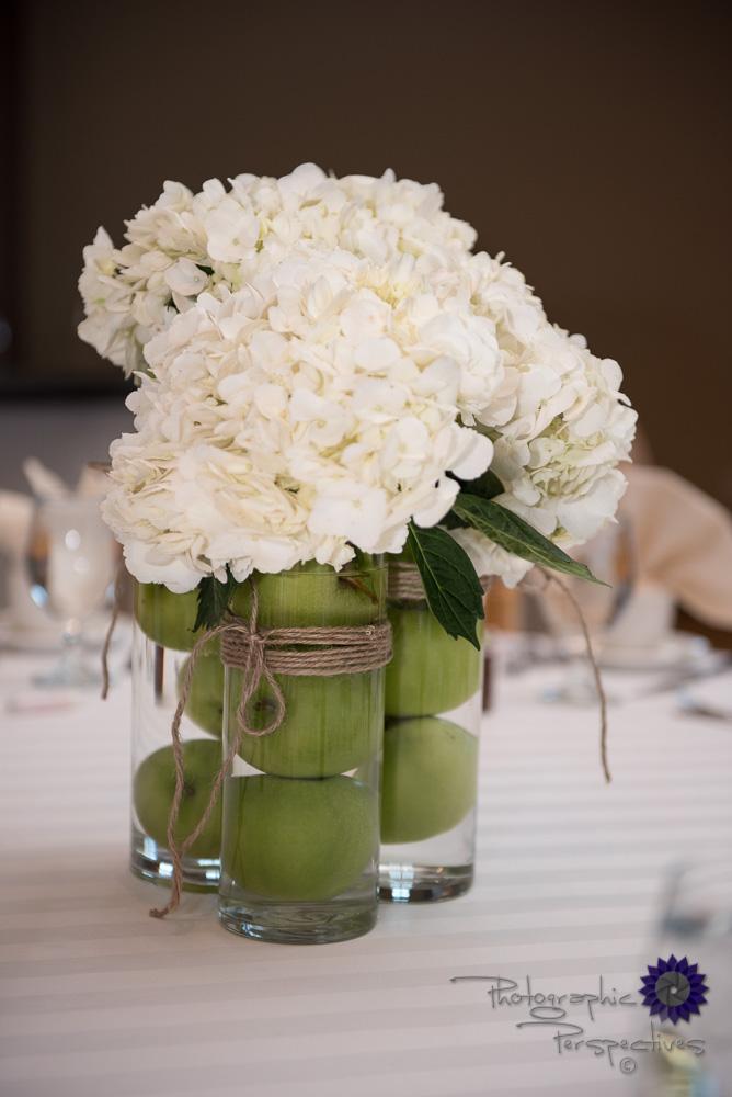 wedding details, green apple centerpiece, hydrangea arrangement,