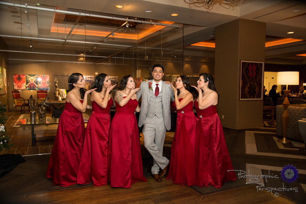 Hotel El Dorado, red tie, grey suit, bridesmaids, groom, funny w