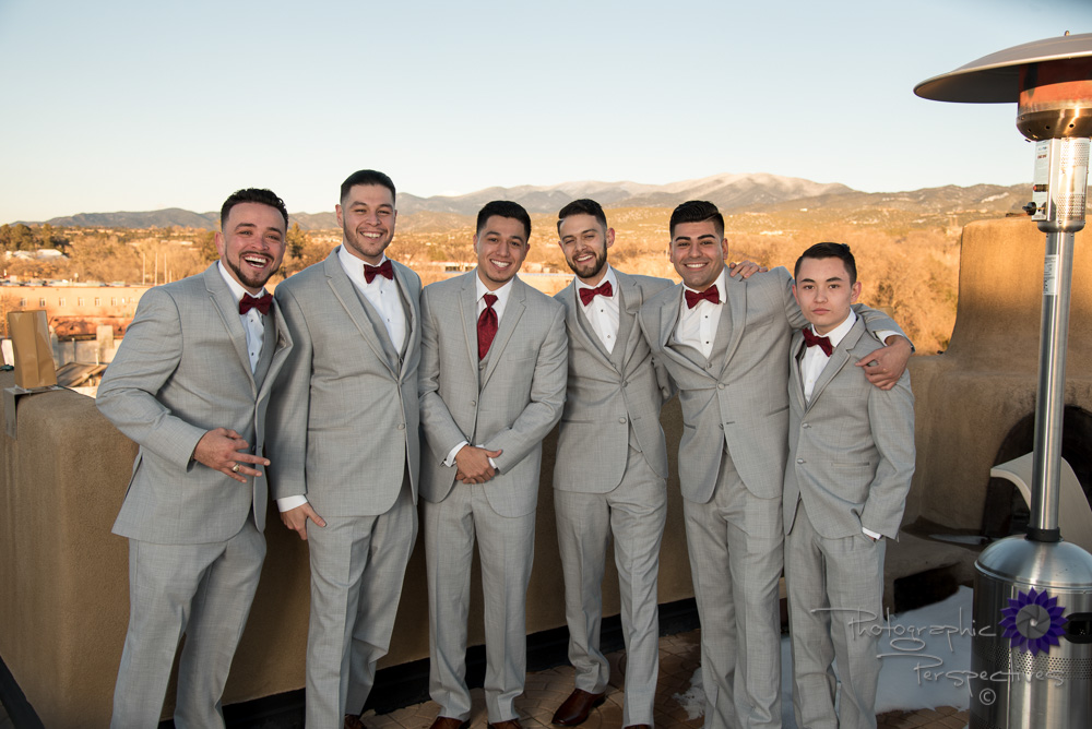 Hotel El Dorado, red bowtie, grey suit, groomsmen, groom