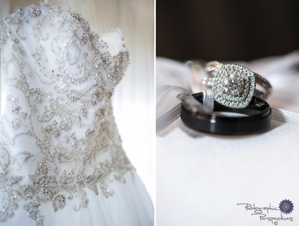 Here are more of the brides wedding details, her beautiful white dress with delicate crystal beading and her diamond halo wedding ring.