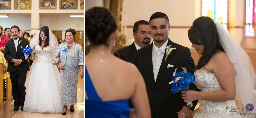 A Catholic wedding in Albuquerque, New Mexico at St. Therese Catholic Church.
