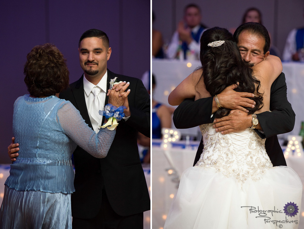 Albuquerque convention center wedding with the groom dancing with his mother and the bride dancing with her father.