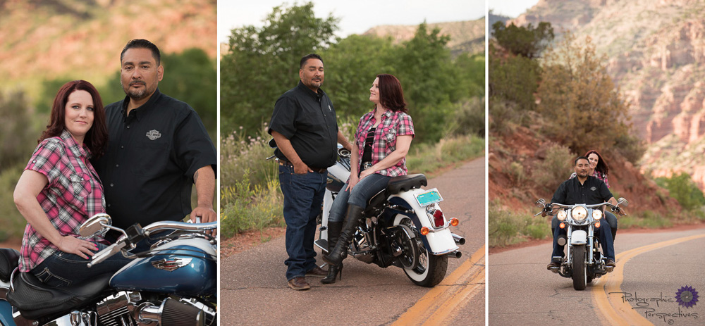 This was a fun engagement session to shoot. We have the amazing scenery of the Jemez Mountains of New Mexico, the beautiful blue Harley Davidson Motorcycle, and the romantic couple.