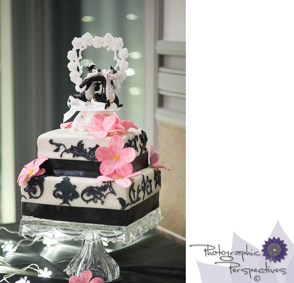 Pepe Le Pew Cake Topper | 3 tier Wedding Cake | Photographic Perspectives | Noah's Event Venue | Noah's of Albuquerque | New Mexico Wedding Photographers