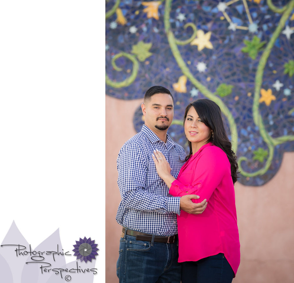 Photographic Perspectives | New Mexico Engagement Session |Engagement Photographers Albuquerque | ABQ Old Town| Tile Mural