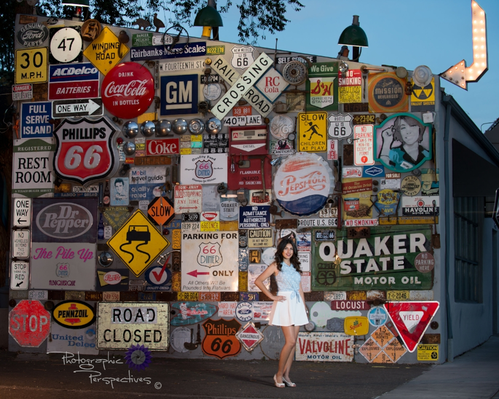 Gabriella Tafoya senior photo at Route 66 Diner from Albuquerque photographers Photographic Perspectives in back of diner
