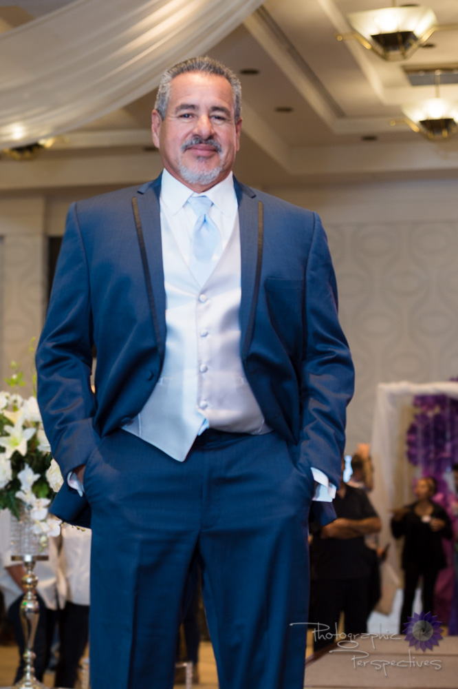 Stephen Geoffrey Slate Blue Tuxedo with Platinum Vest & Lite Blue Tie