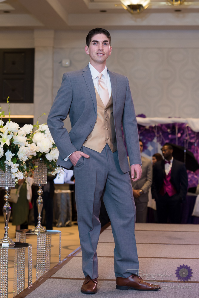 Stephen Geoffrey Mid Grey Tuxedo with Gold Vest & Champagne Tie