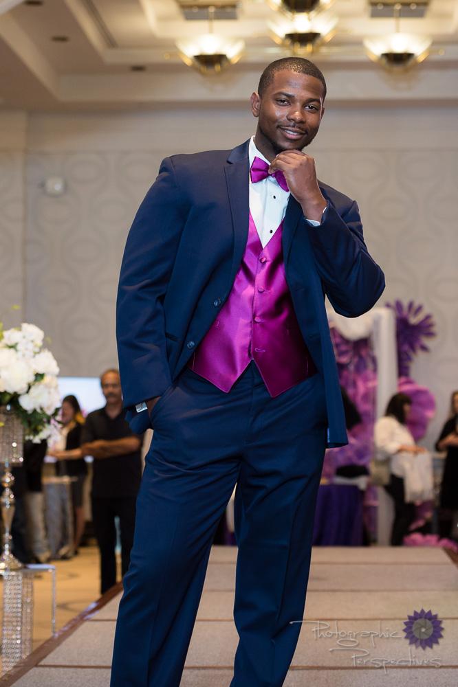 Michael KorsNavy Wedding Suit with Raspberry Vest & Tie