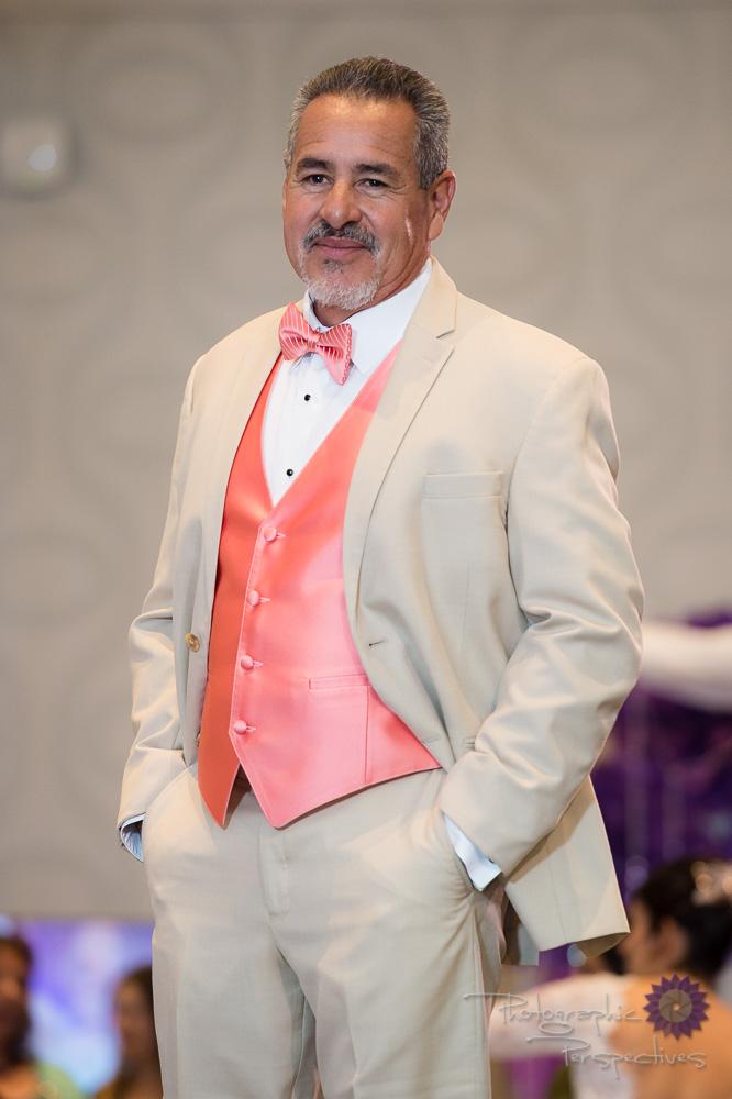 Stephen Geoffrey Tan Suit with Coral Vest & Tie