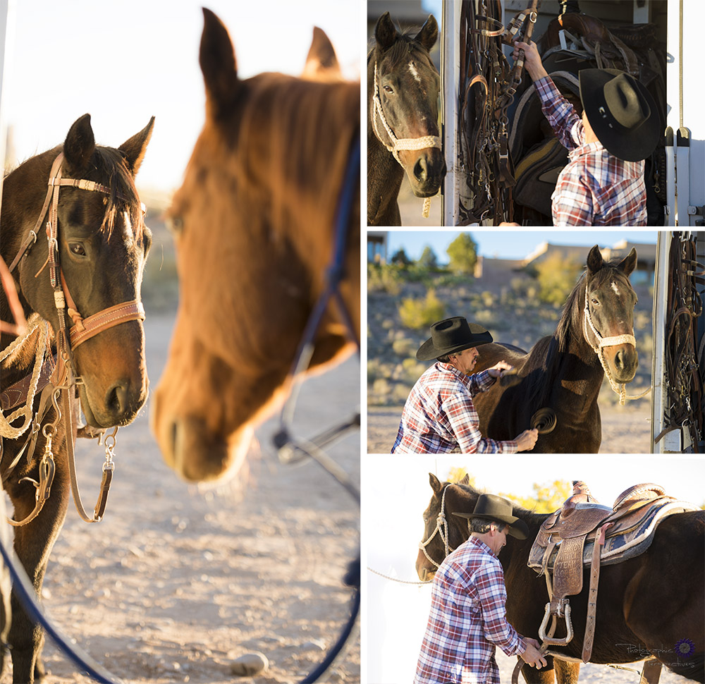 Horseback Anniversary Photoshoot | Horse Prep | Couples Session | Albuquerque Photographers