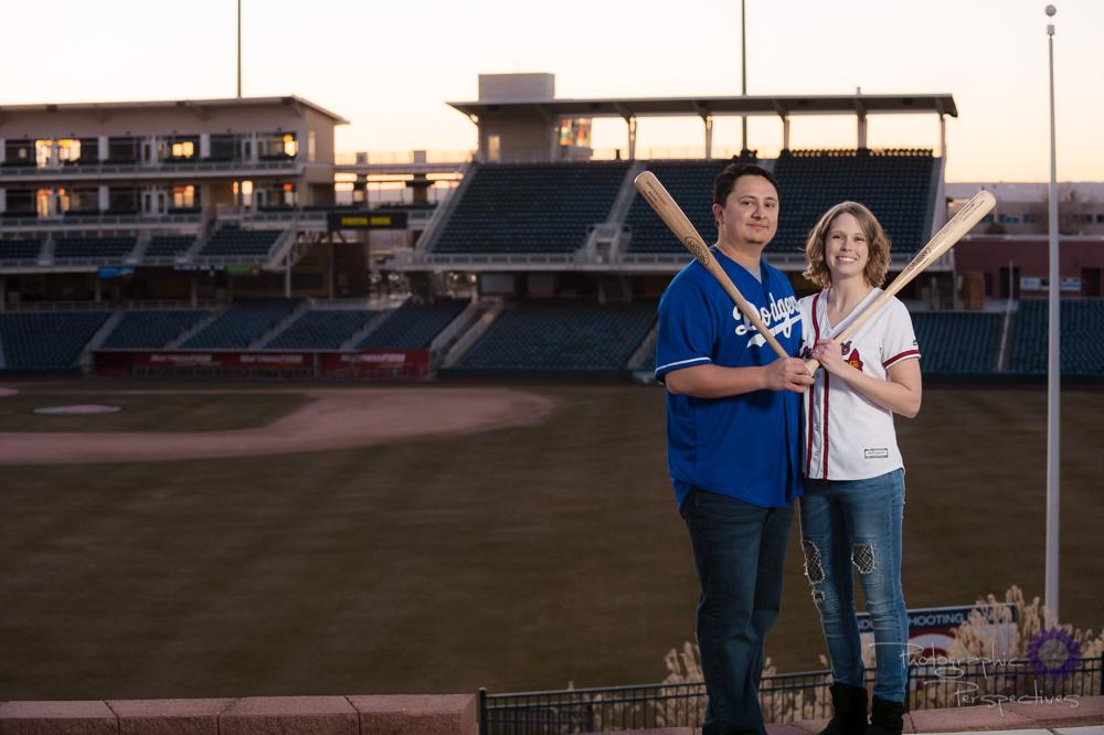 Baseball Stadium Engagement Photoshoot |Albuquerque Wedding Phot