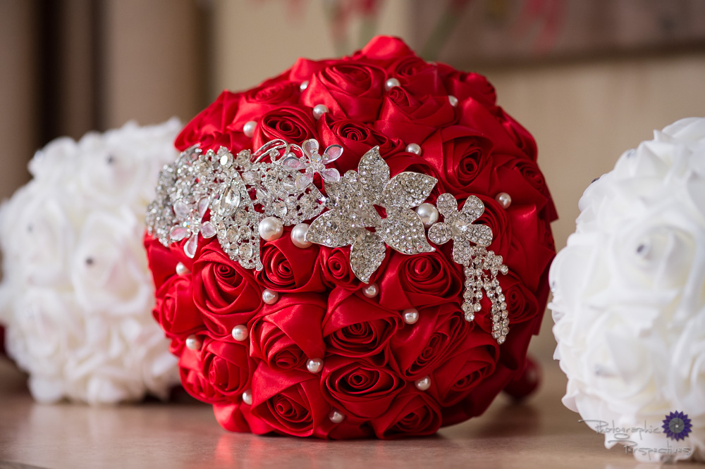 Silk red rose Toss bouquet | Photographic Perspectives