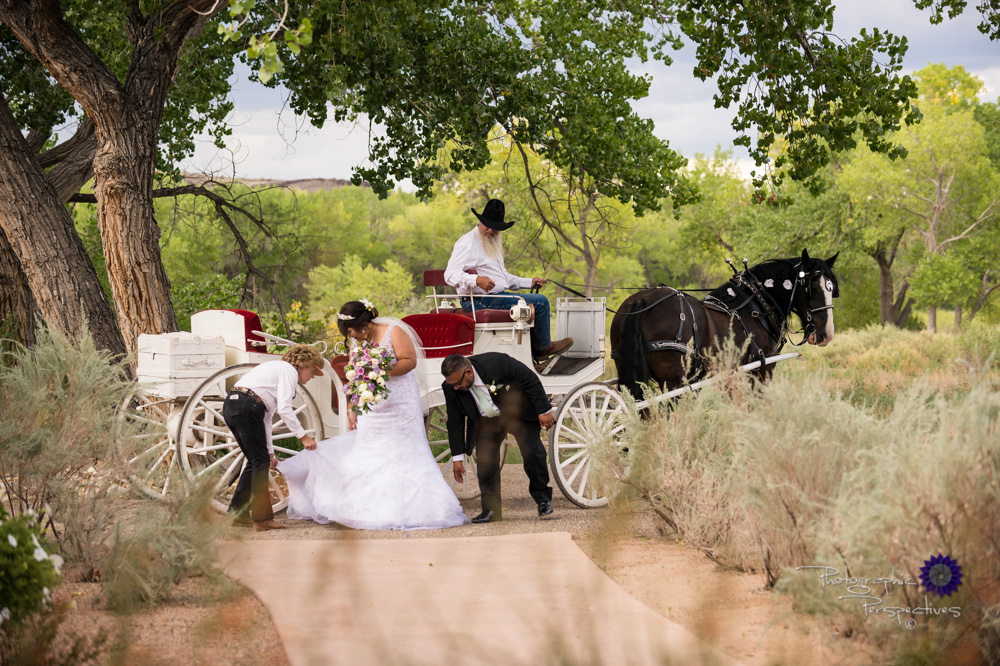 Wedding Photographers Albuquerque | Hyatt Regency Tamaya Wedding | Bride on Horse Drawn Carriage