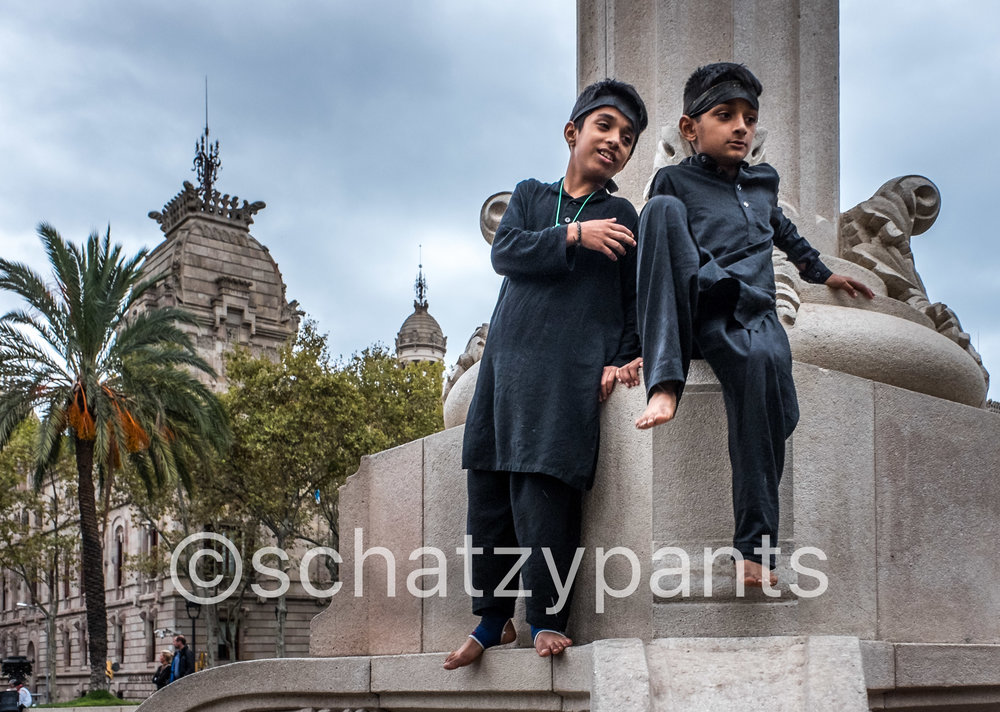 Two children watching from above