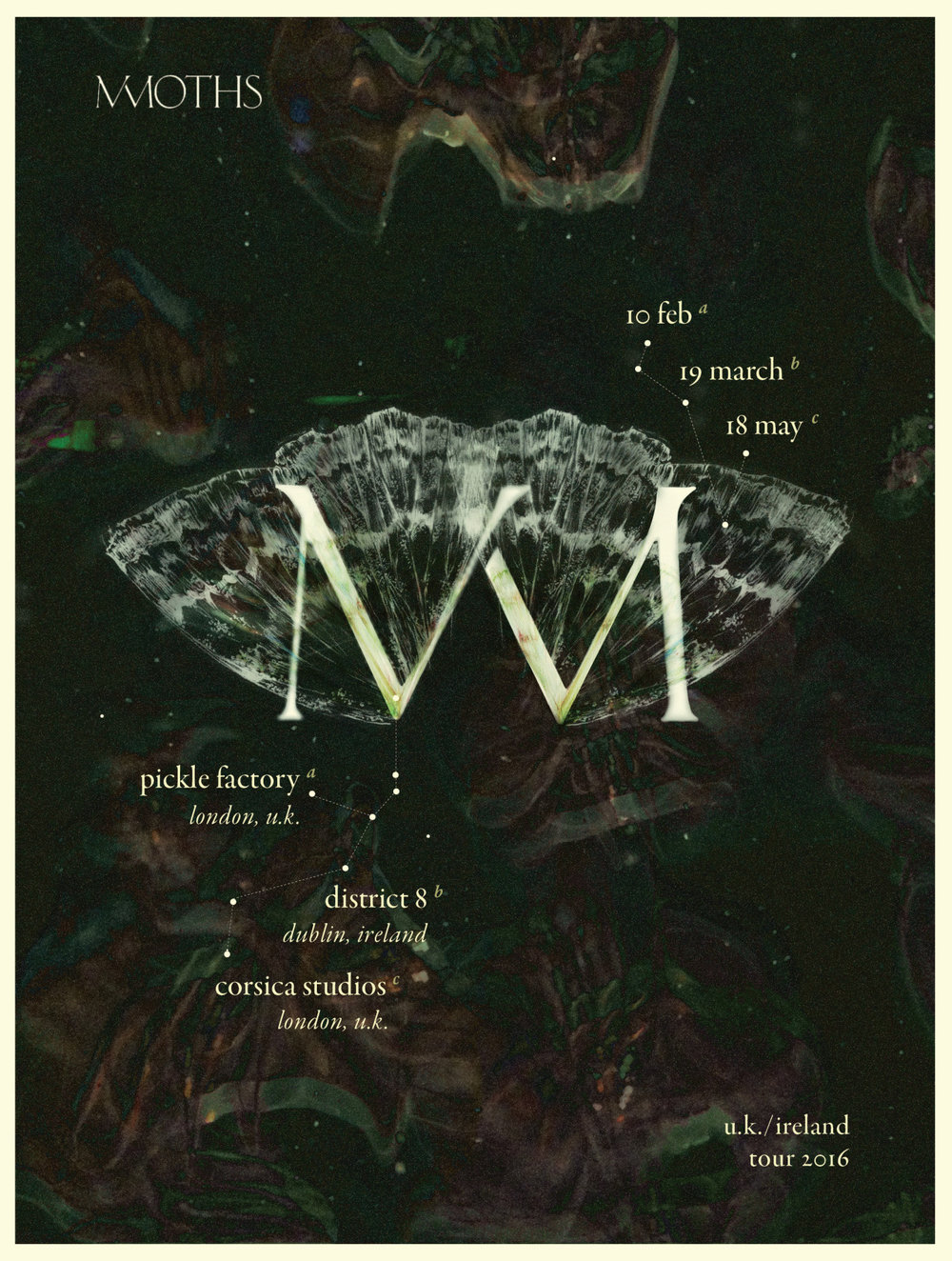 MMOTHS gig poster reflecting the nocturnal sound of their 2016 album Luneworks.