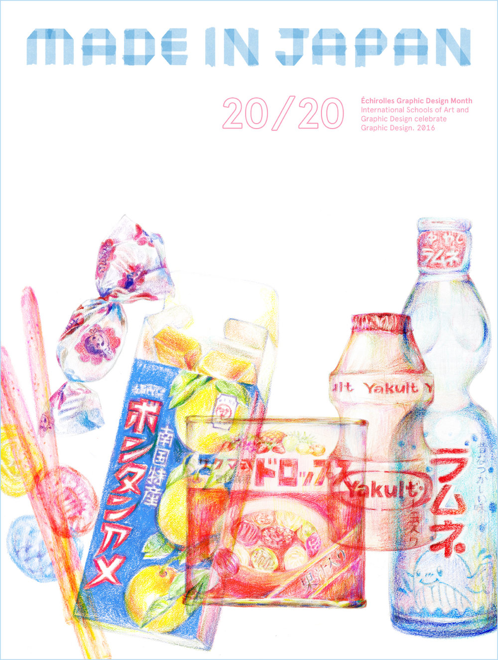 """20/20 Made In Japan"" Poster Competition, featuring nostalgic snack packaging."