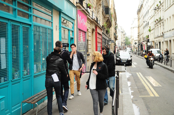 Hannah L. Smith directs actor Etienne Glenat on set of Margot in Paris, France. Image by: Nico Paprota