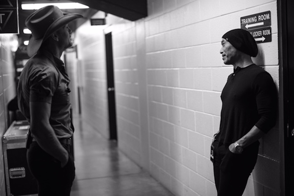 Yuan backstage with Tim McGraw on the  Soul2Soul tour, a personal training client, by Tien Phan (2017)