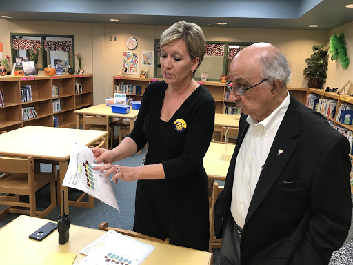 Harvey Najim  visits Spicewood Park Elementary to observe SBRI in the classroom.  Principal Krista Nail  explains the impact of SBRI on students' reading outcomes.