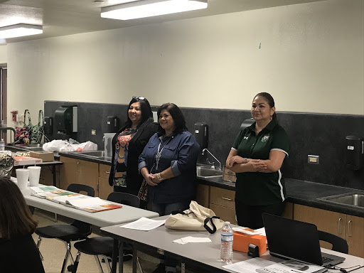"Southwest ISD Board of Trustees  Yolanda Garza-Lopez  and  Florinda Bernal  and Assistant Superintendent of Curriculum & Instruction  Dalila Garcia  observe LETRS ""Trainer of Trainer"" class."