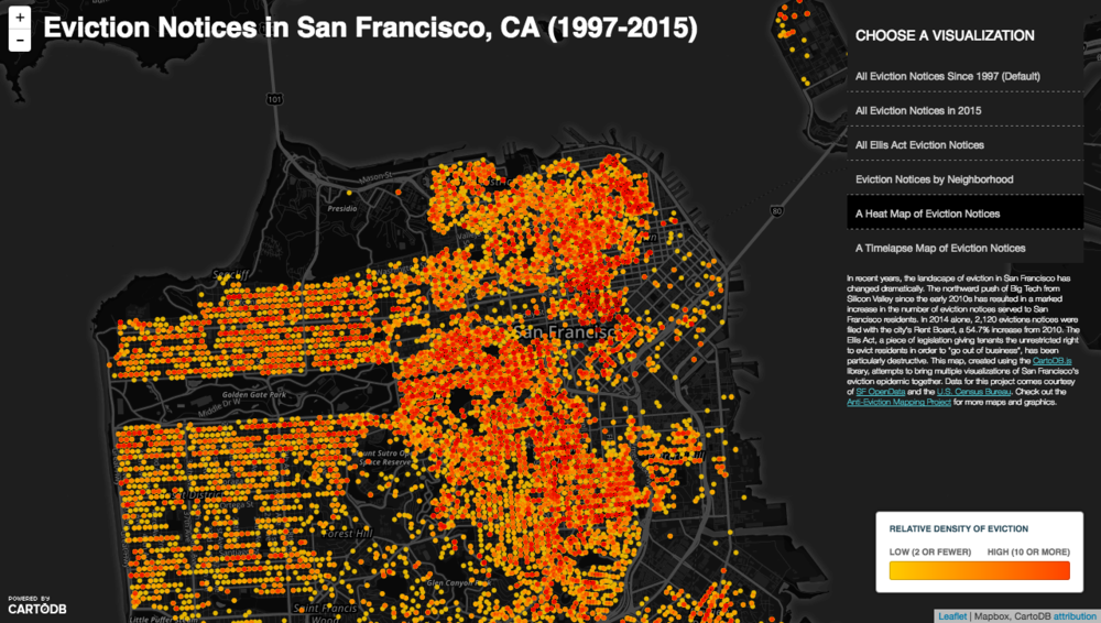 A screenshot of my interactive map of eviction in San Francisco. The map comprises seven different data layers, each offering a unique view of the geography of eviction in the city.
