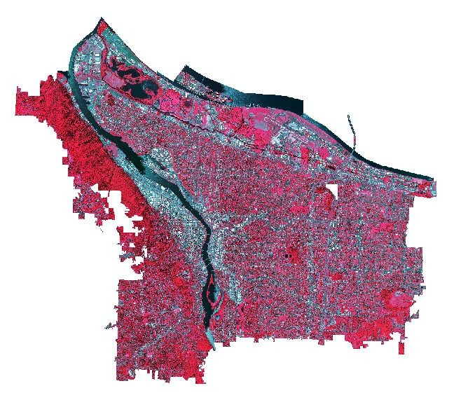 A composited NAIP image of the city of Portland, OR in 2014 displayed in    color-infrared    (R = Band 4, G = Band 3, B = Band 2).