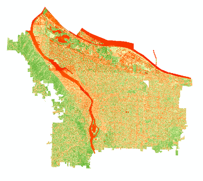 The NDVI of the NAIP composite displayed using a diverging color ramp. You can use the Image Analysis toolbar to automatically generate an NDVI from an input raster or manually calculate it using Raster Calculator.