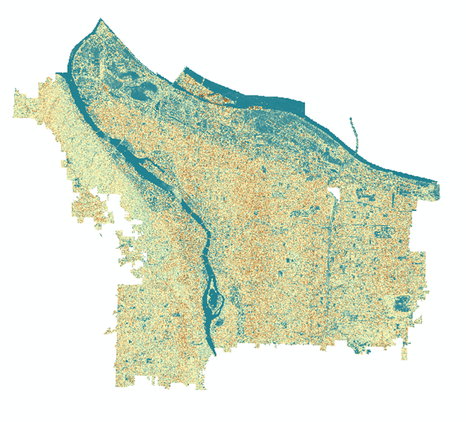 The 'texture' raster of the NAIP image. Notice how the Willamette River (center) appears very deep blue (low value, smooth surface) while Forest Park (left) appears a tan brown (higher value, rougher surface).