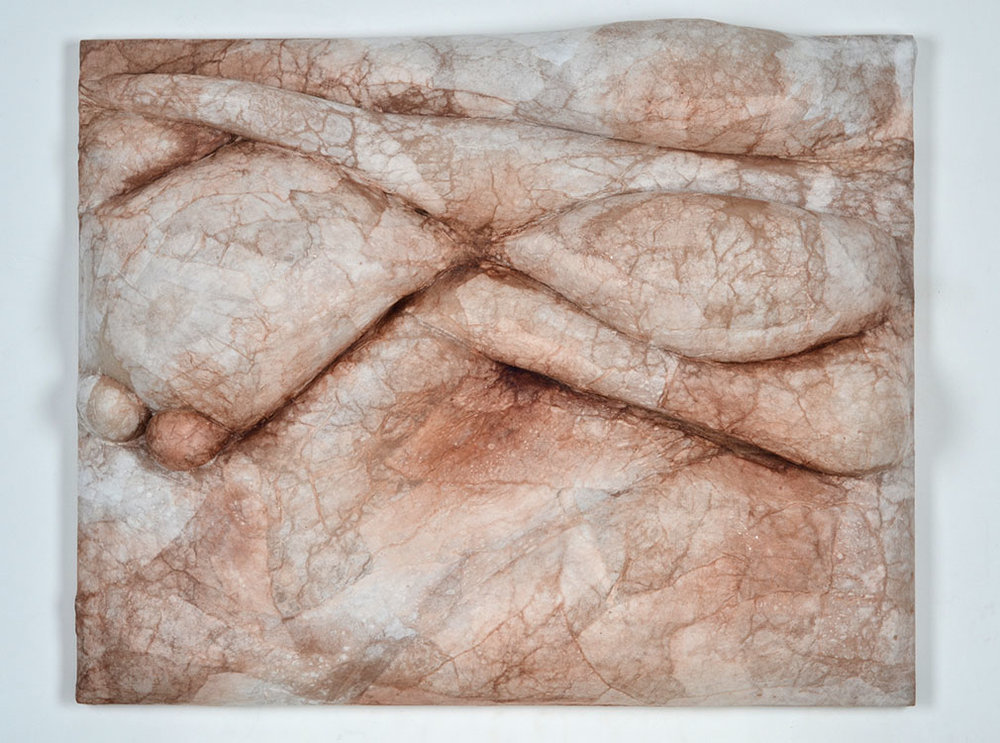 Ambiguous Form 1 (2016), plywood, kozo rice paper, ink, nylon, polyester stuffing, 22x28x3.5""