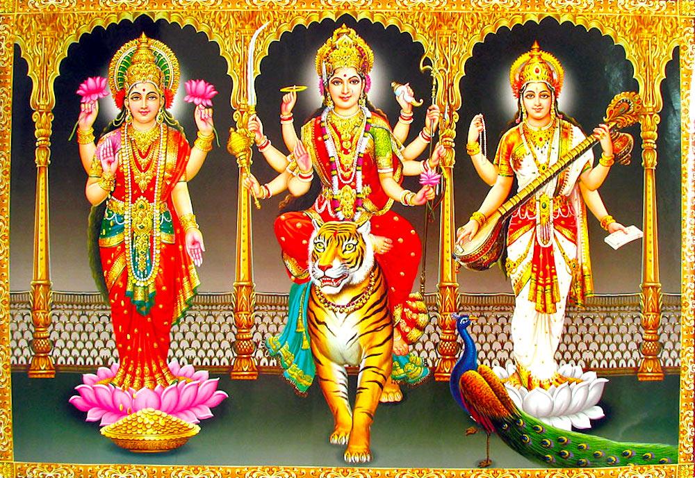 (L) Lakshmi, (C) Durga, (R) Saraswati: Tridevi