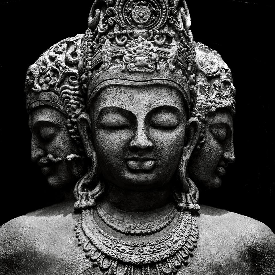 Trimurti: Brahma (L) The Creator, Shiva (R) the Transformer and Vishnu (C) the Maintainer