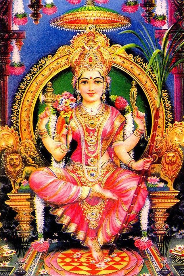 "Sri Lalita Tripura Sundari, ""She Who Plays"", the Beautiful Goddess of the Three Realms"