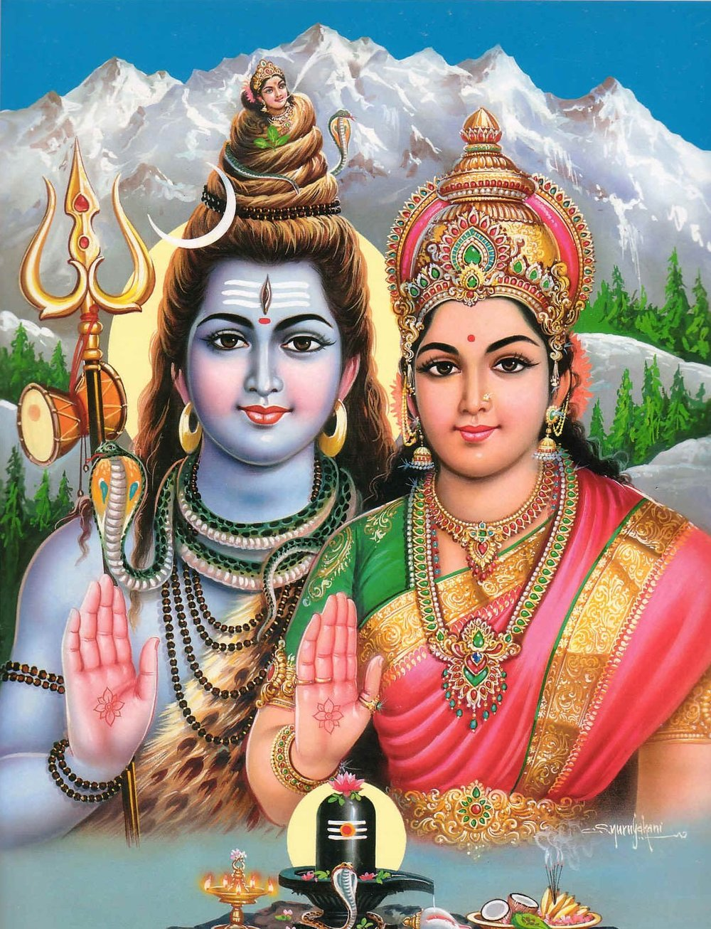 Shiva and Parvati, the right-handed aspect of Durga Ma