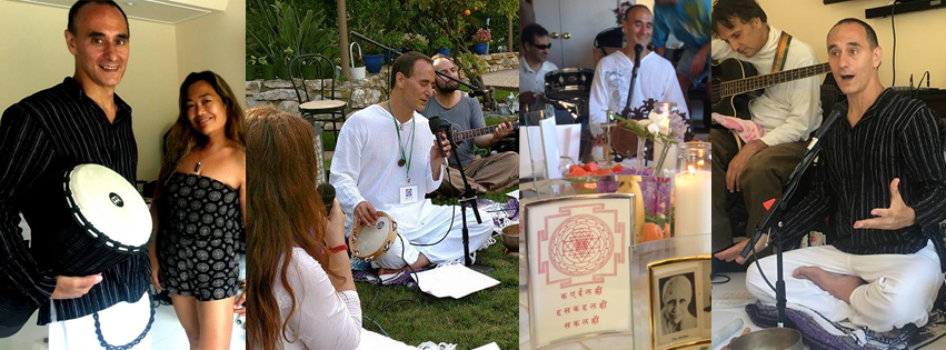 Yogi Steven spreading Divine Love through music and song, teaching the practice of Bhakti (devotion)
