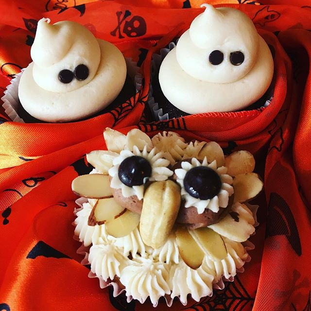 It's Adopt-a-Cupcake day! Won't you take one of these cute creatures home to your belly? #ghostcupcakes👻 #owlcupcakes #trumansburgishalloween #smallbatchbakery