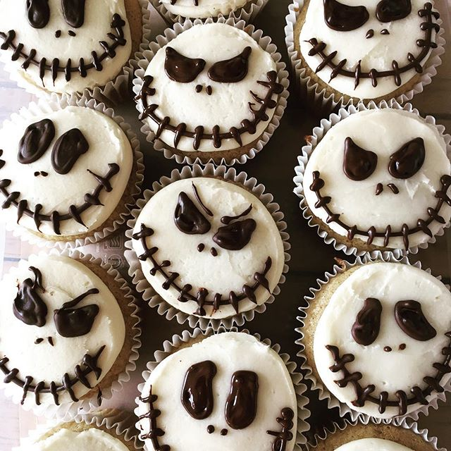 Happy Halloween! (Sadly we are closed Wednesdays. See you tomorrow!) #specialorder #jackskellingtoncupcakes #halloweencupcakes #smallbatchbakery #trumansburgishalloween