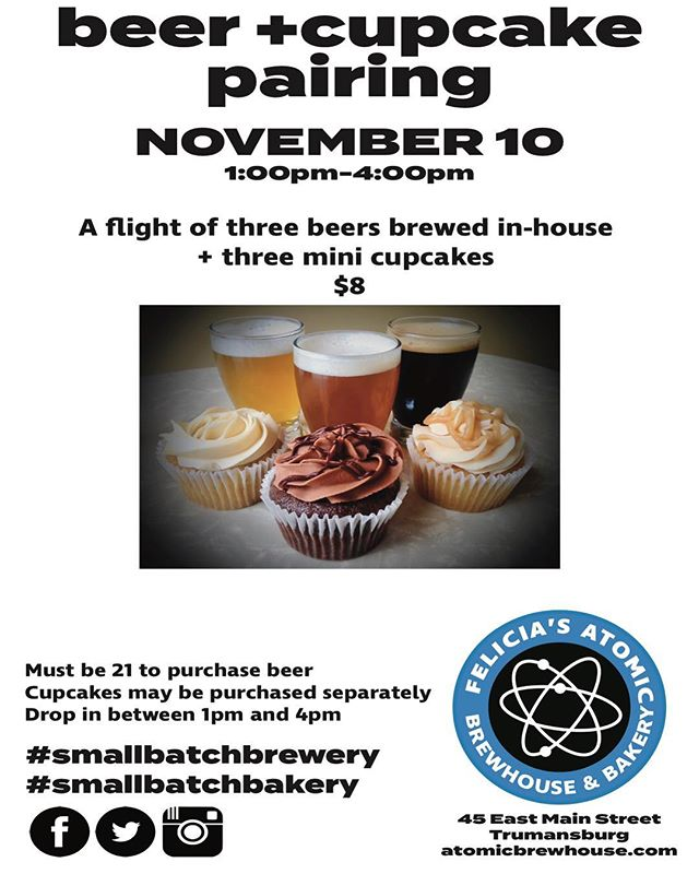 This Saturday's pairings! Chocolate Toasted Coconut cupcake with Stouty McStoutface, Passionfruit Pineapple cupcake with Cry-P-A, and Caramel Apple cupcake with Rye Don't You Love Me Pale Ale. #beerandcupcakes #smallbatchbakery #smallbatchbrewery #trumansburgisbeer #beerandcupcakepairing #daytripfingerlakes #yesssss