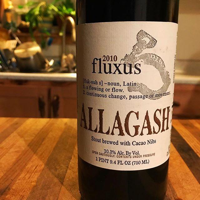 From our tiny beer cellar. 2010 fluxus. #allagashbrewing #whathebrewerisdrinking #sharethebeerlove @allagashbrewing