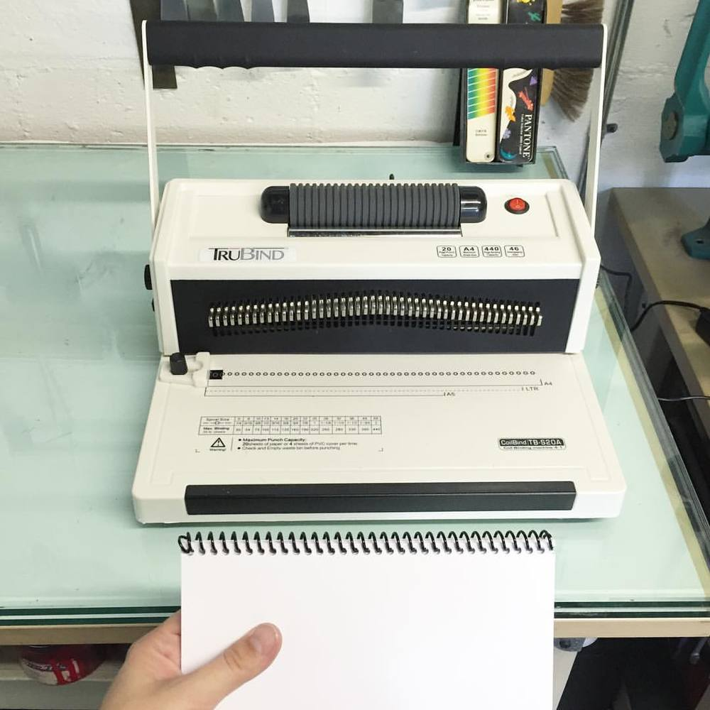 New toy! So fun! We now offer spiral binding! Can't wait to put @edau's books together with this guy! 📒📒📒📒📒 (at Is Projects)