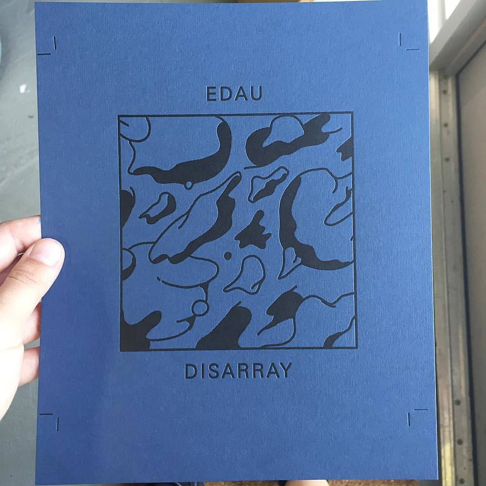 "Printing the cover of our first Existent Book ""Disarray"" by @edau Successful collaborations like this are proof that he whole is greater than the sum of it's parts. We can't wait to release this book at the Miami Book Fair International on Nov 20-22 (at Is Projects)"