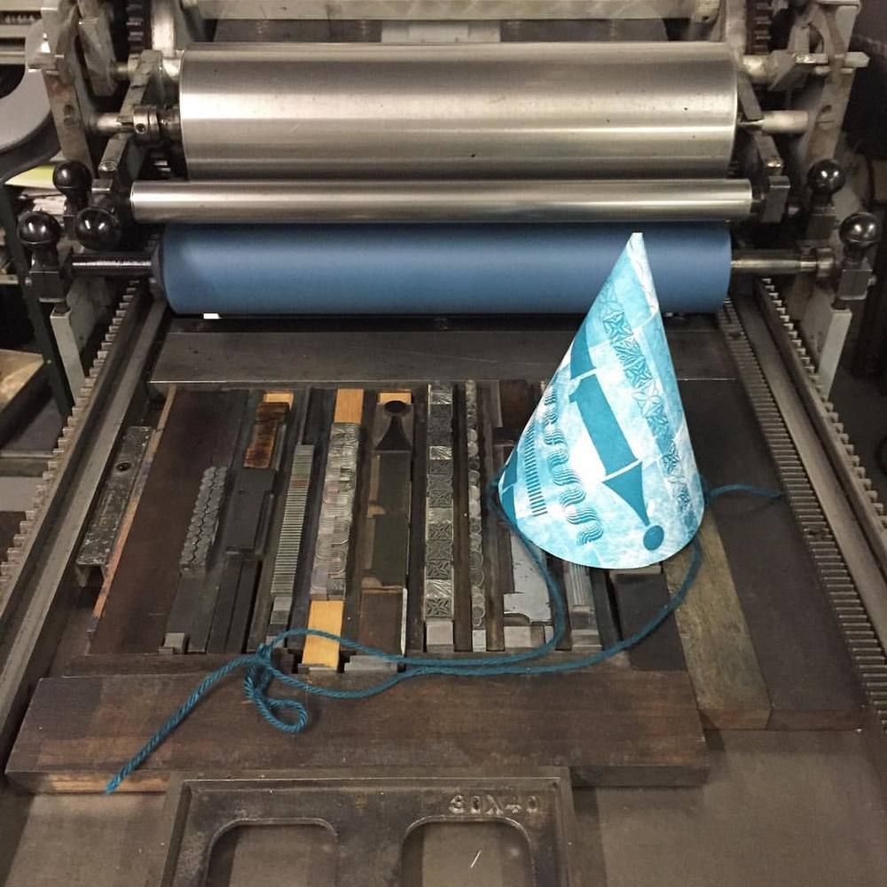 As promised, we printed letterpress party hats all night! Thanks so much to everyone who came out, we had a blast! We'll post more pics from the party as soon as we get some zzzzzzzzzs (at Is Projects)