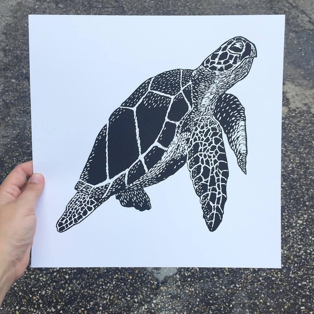 "Finally got around to editioning this guy. ""Loggerhead"" will be available at the FATVillage Artwalk this Saturday from 6-11pm. Come say hi! (at Is Projects)"