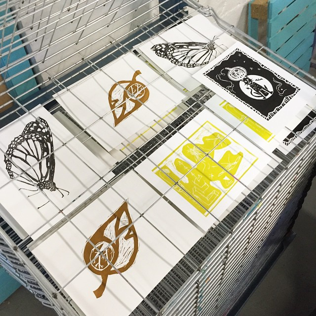 Thanks so much to everyone that came out yesterday for our second edition of the Intro to Linocut workshop. Everyone made great prints and we got to break in the new drying rack. There's been lots of changes here at ISP come check them out at the FATVillage Artwalk this Saturday 6-11pm (at Is Projects)