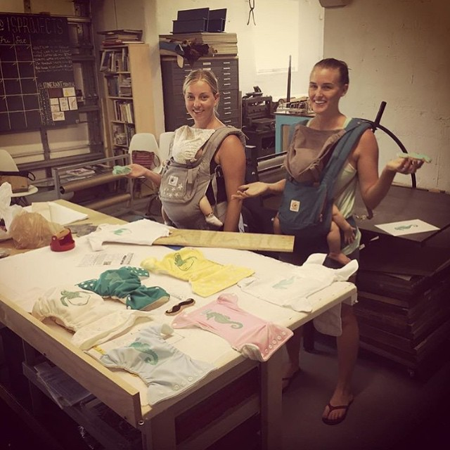 Regram from @carlymarineart Mommies in the shop! Printing cloth diapers and onsies for the little ones while they napped. Fun day; thanks for coming in! (at Is Projects)
