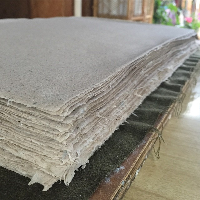 Tbt to this gorgeous stack of paper fresh out of the press and ready to be separated into spurs which will be hung to dry. (at Traditional Hand Craft)