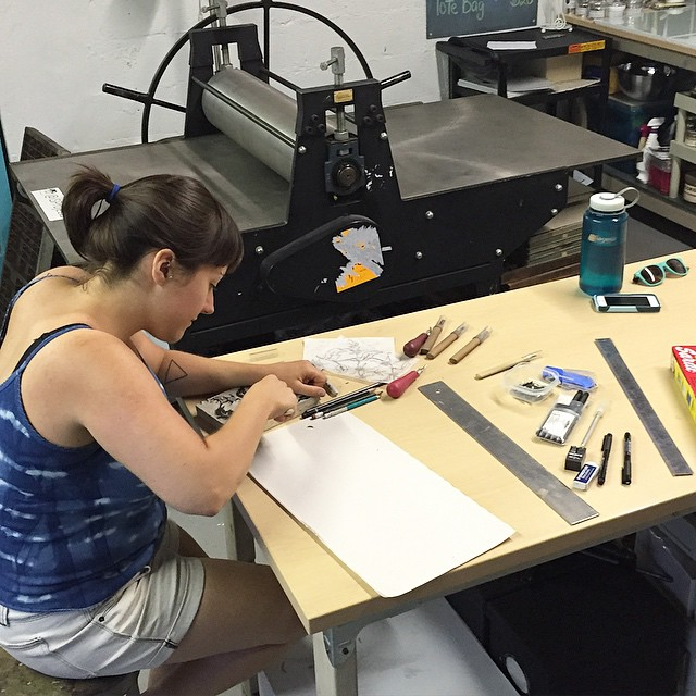 Amy @amyandtheshark hard at work on the demo block for Sunday's workshop. Don't forget to sign up on the website (link in profile) Also come hang out for Artwalk on Saturday! (at Is Projects)