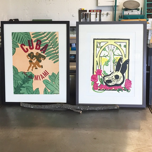 "Part of the ISP internship is to work on a personal project. On the left is Nathalie Moreno's (@notnathalie) ""Cuba the new Miami"" a 5 layer linoleum and letterpress print and on the right is Melissa Snyder's (@toxiccookies) ""Momento Mori"" a 5 layer reduction block print. So proud of these two! (at Is Projects)"