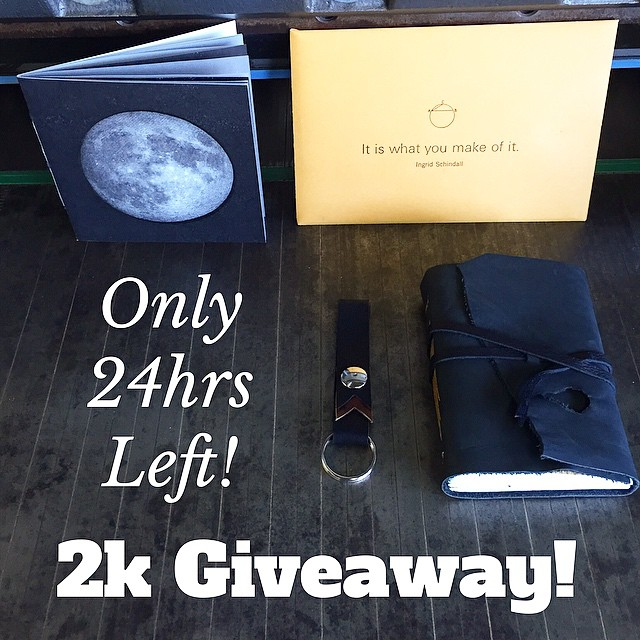 "Only 24 hours left to enter the IS Projects 2k giveaway! We'll be giving away the prize package pictured here to our grand prize winner and a $25 gift code to the Nocturnal Press etsy shop to our second prize winner!   The prize package consists of:   3.5x5"" leather wrap journal   Line of Sight, a limited edition artist book  It is what you make of it. A limited edition postcard set.   And a leather key fob!  Rules for entry:  1- follow @isprojects   2- repost this picture or any of the giveaway pictures. Be sure to tag @isprojects and hashtag #isprojects   Winners will be announced Tomorrow at noon so stay tuned! (at Is Projects)"