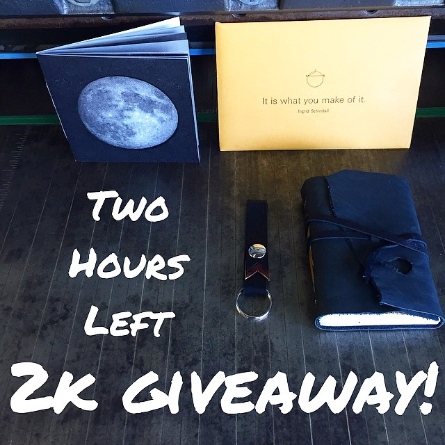 """Last two hours to enter the IS Projects 2k giveaway! We'll be giving away the prize package pictured here to our grand prize winner and a $25 gift code to the Nocturnal Press etsy shop to our second prize winner! The prize package consists of: 3.5x5"""" leather wrap journal Line of Sight, a limited edition artist book It is what you make of it. A limited edition postcard set. And a leather key fob! Rules for entry: 1- follow @isprojects 2- repost this picture and tag @isprojects and hashtag #isprojects Winners will be announced Today at noon so stay tuned! (at Is Projects)"""